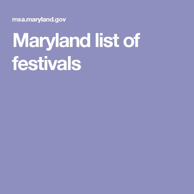 Maryland list of festivals