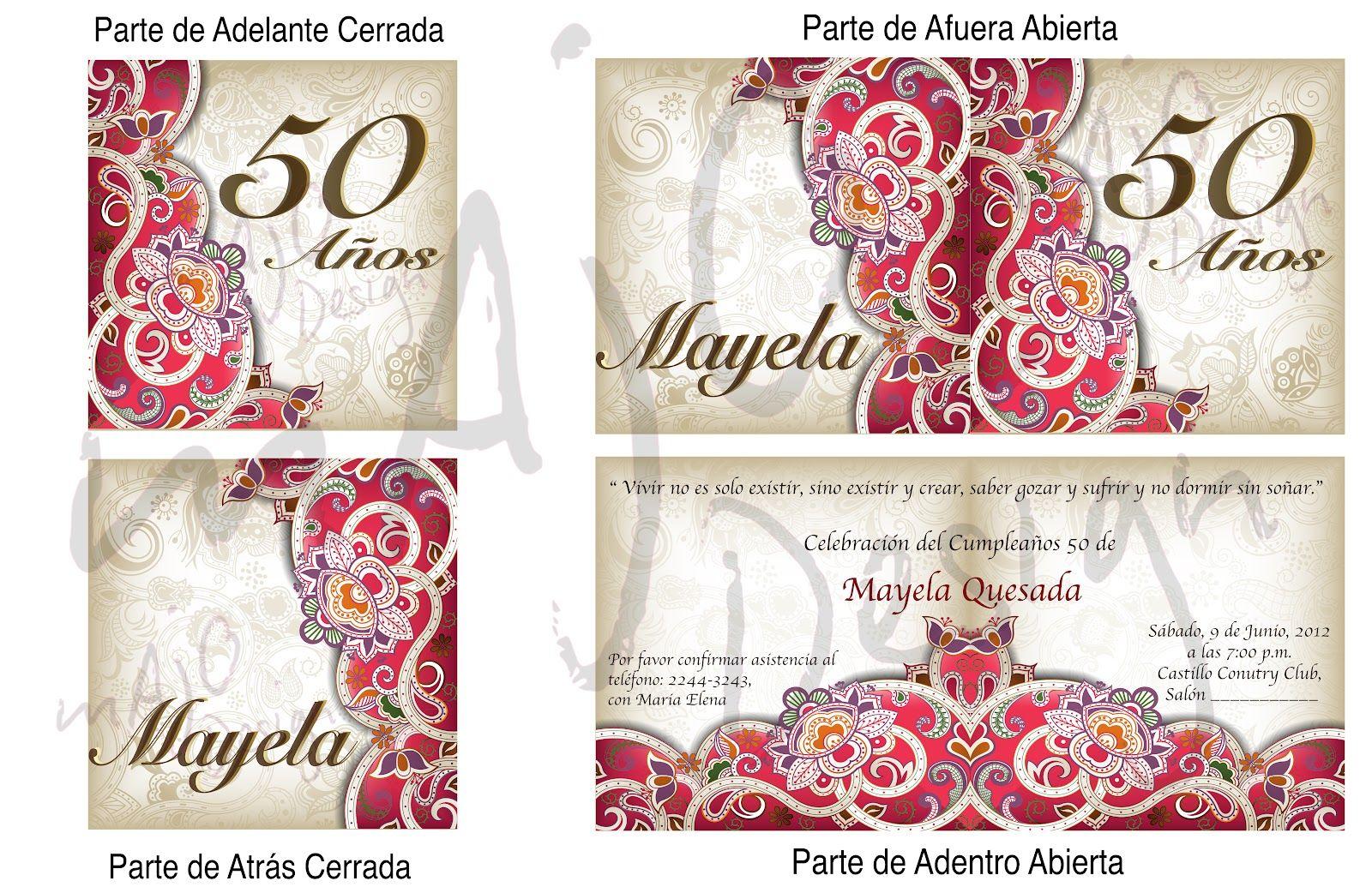 Tarjetas De Invitacion A Cumpleaños 50 Años Para Imprimir