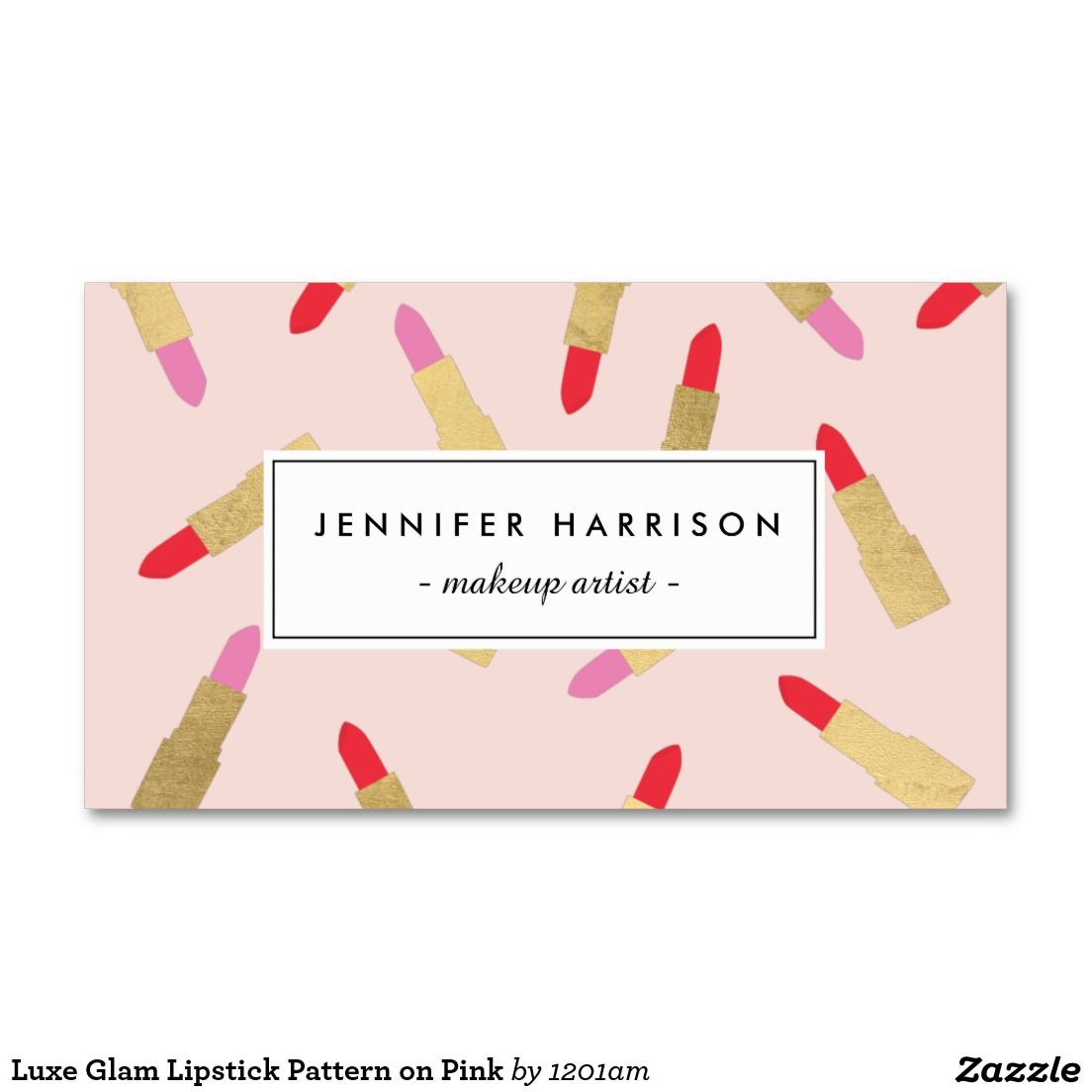 Luxe glam lipstick pattern on pink makeup artist business card luxe glam lipstick pattern on pink makeup artist business card alramifo Image collections