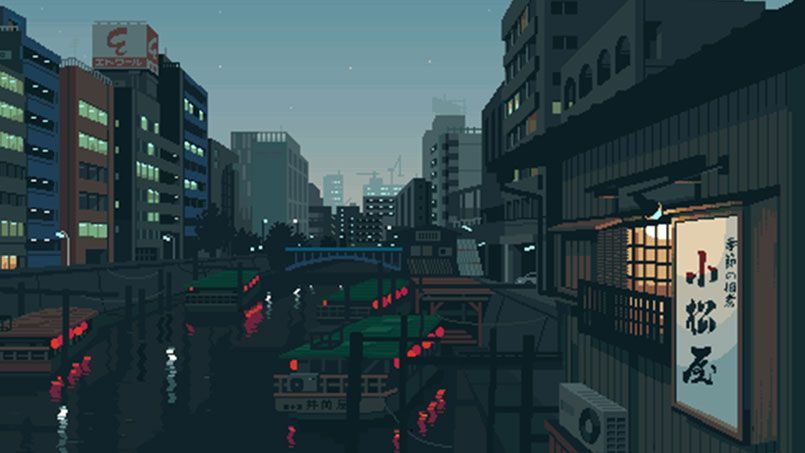 The Japanese Daily Life In Pixel Art Sketchbook By Tsukimori Pixel Art Background Pixel Art Pixel City