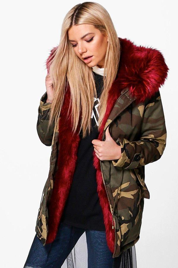 7114166e788c Boohoo Phoebe Camo Faux Fur Lined Parka | Jackets.! in 2019 | Faux ...