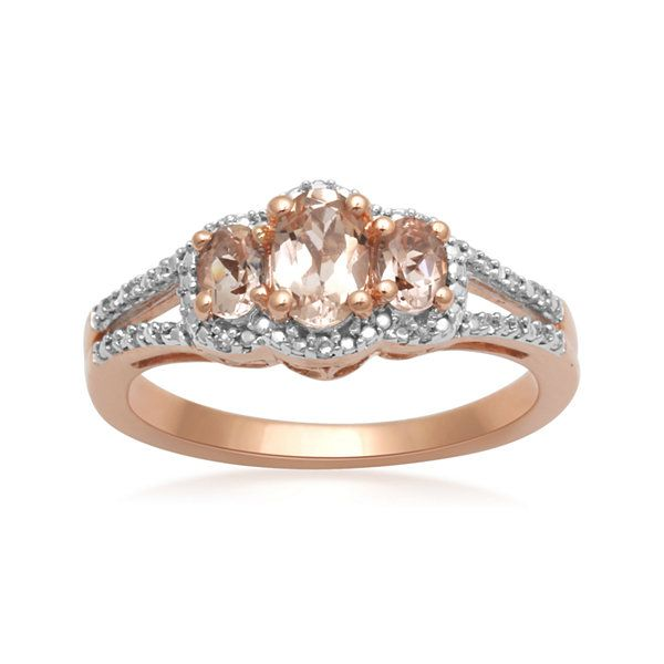 10K Rose Gold Genuine Morganite And3 CTTW 3 Stone Ring JCPenney