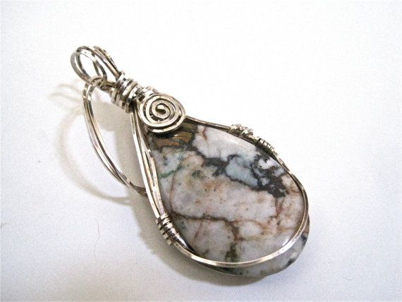 Wire wrapped silver pendant artisan jewelry by TheJewelryTherapist