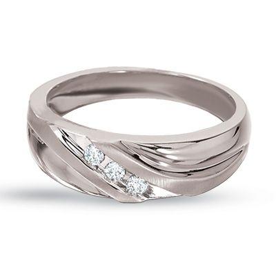 Diamond Three Stone Wedding Band In White Gold   Zales