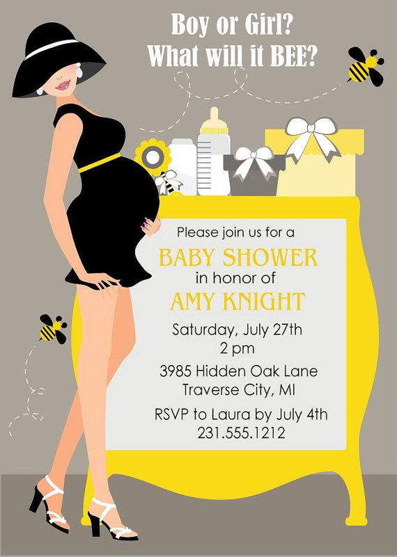 Bumble Bee Baby Shower Invitations - Gender Neutral Shower Invites
