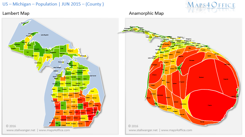 USA Michigan Map County Population Density US MI Heatmap - Michigan county map