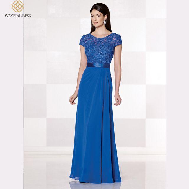 033efabfd533 Elegante manga corta de noche largo vestidos de encaje con cuentas ...