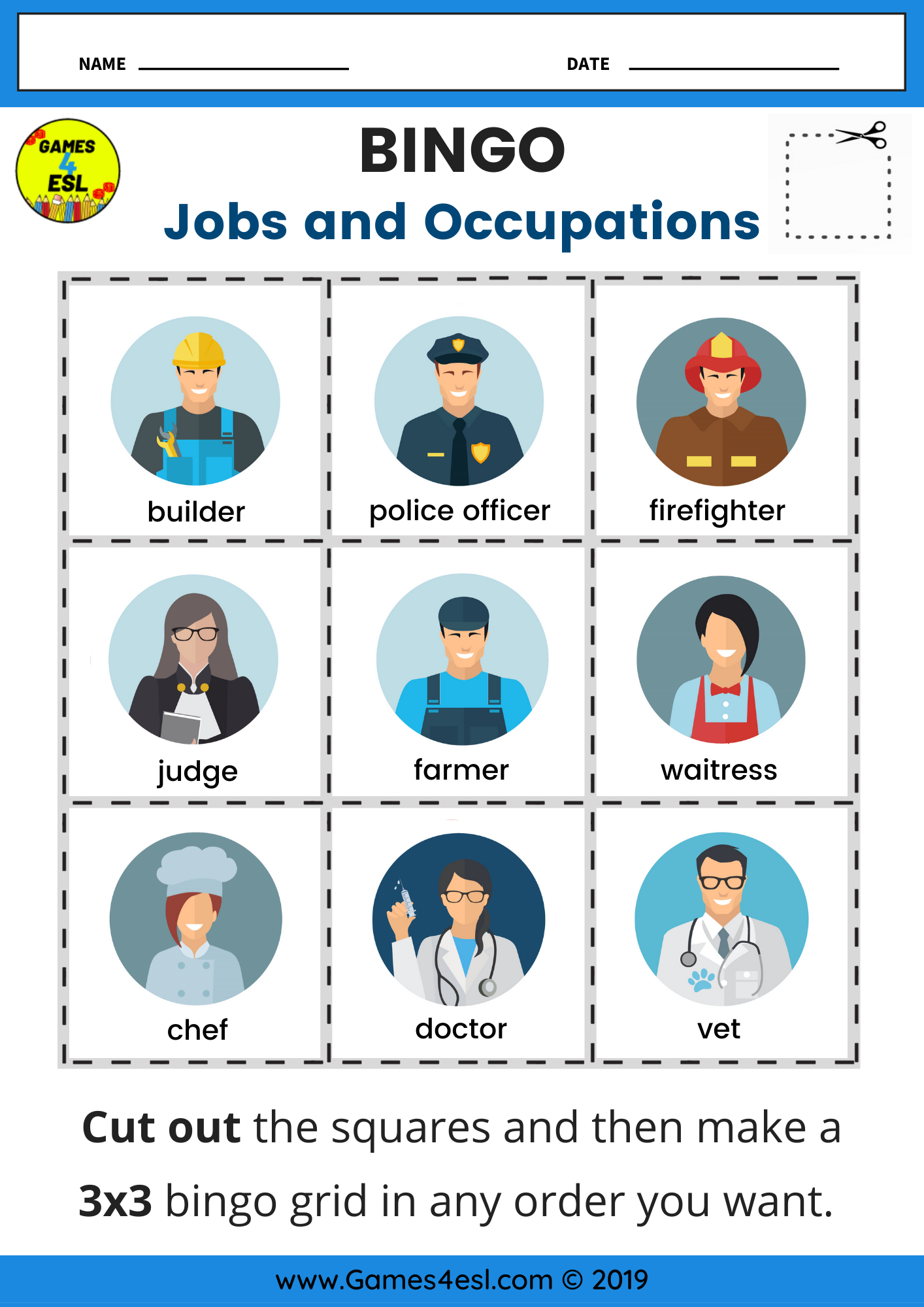 Jobs Bingo Worksheet