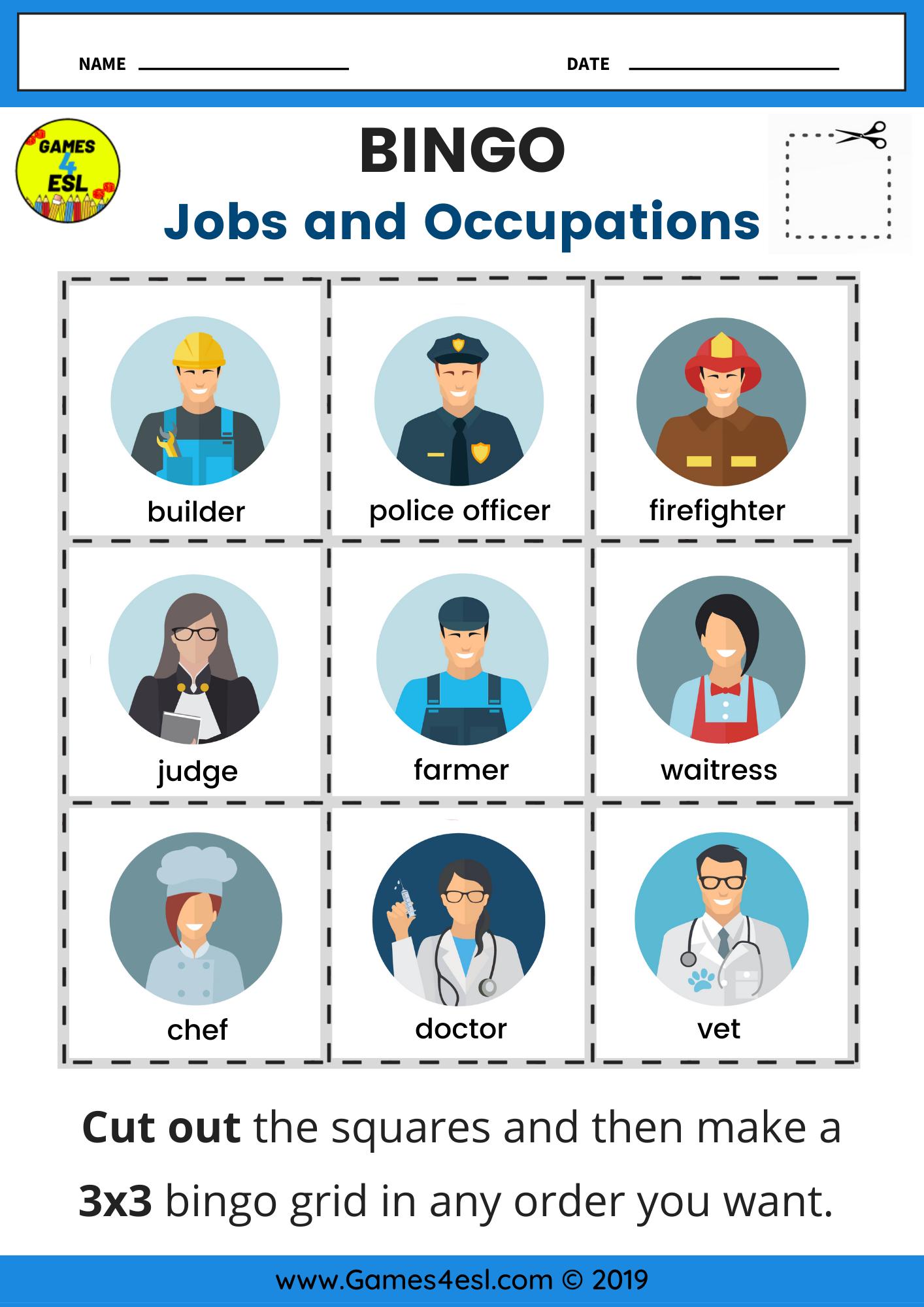 Jobs Bingo Worksheet