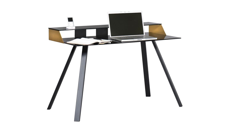Schreibtisch SMART WORK Computertisch Laptoptisch Schwarz Glas Und Kupfer