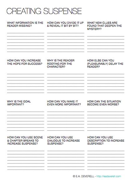 Suspense Worksheet | Guiones y Escritura