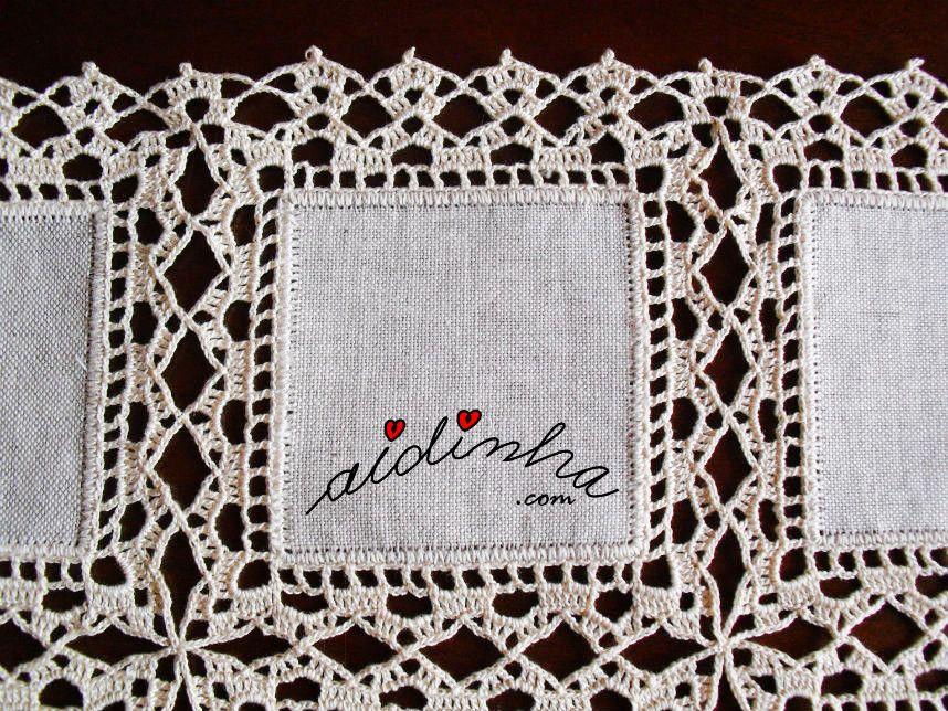 Naperon Caminho De Mesa Com Quadrados De Linho E Crochet Toalha