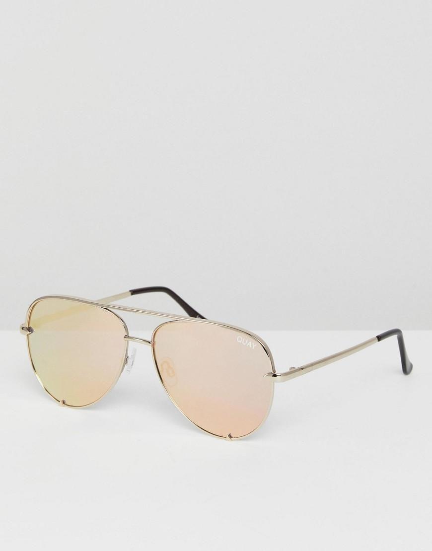 #ASOS - #Quay Australia Quay Australia X Desi High Key Mini Aviator Sunglasses In Gold - Gold - AdoreWe.com