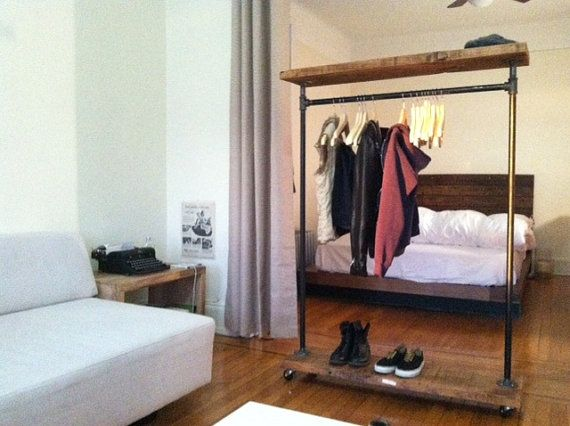 Industrial Garment Rack with Top Shelf by TylerKingstonWoodCo, $310.00