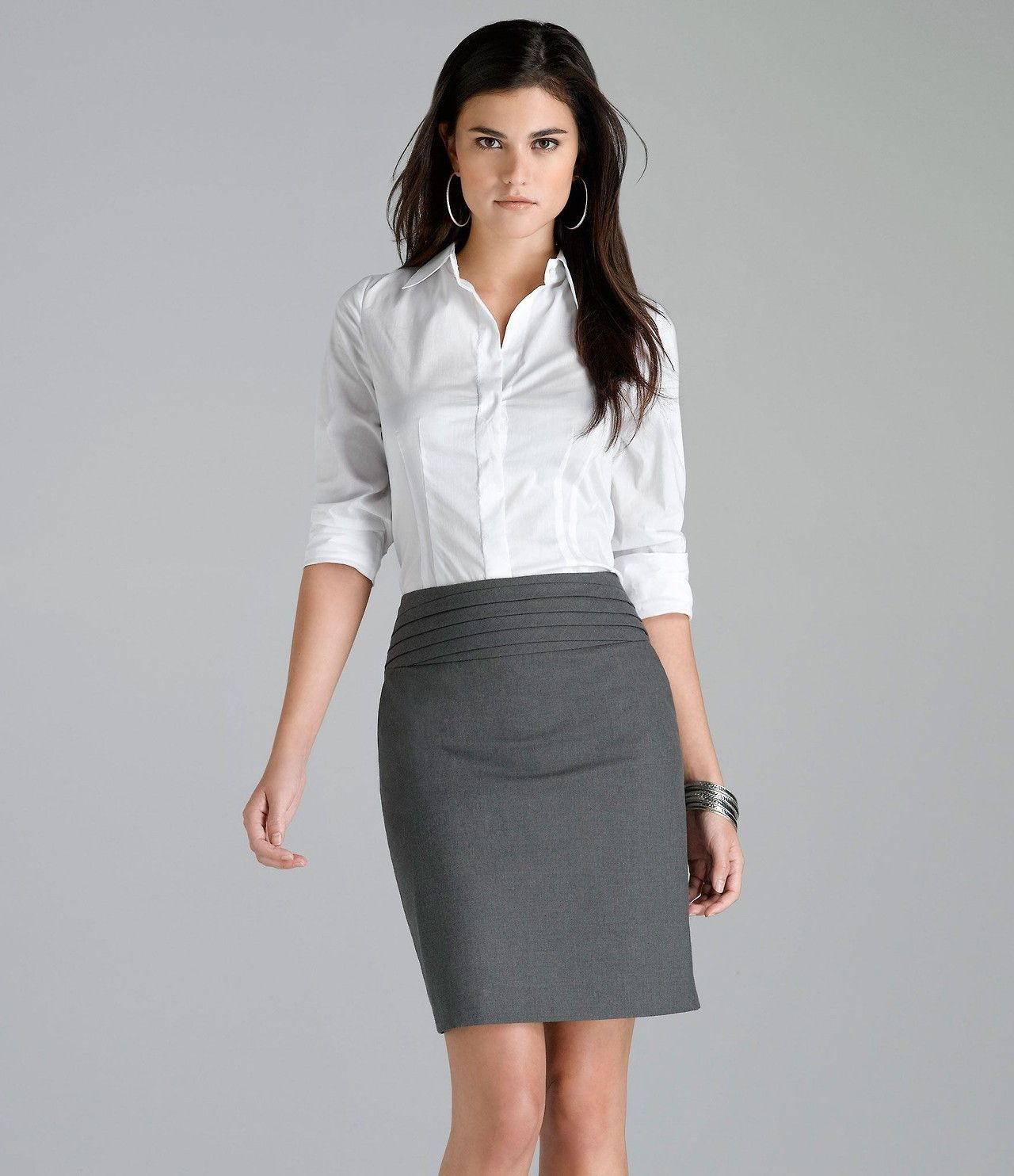 Gray Pencil Skirt and White Blouse | Work Outfits - Gray Skirt ...