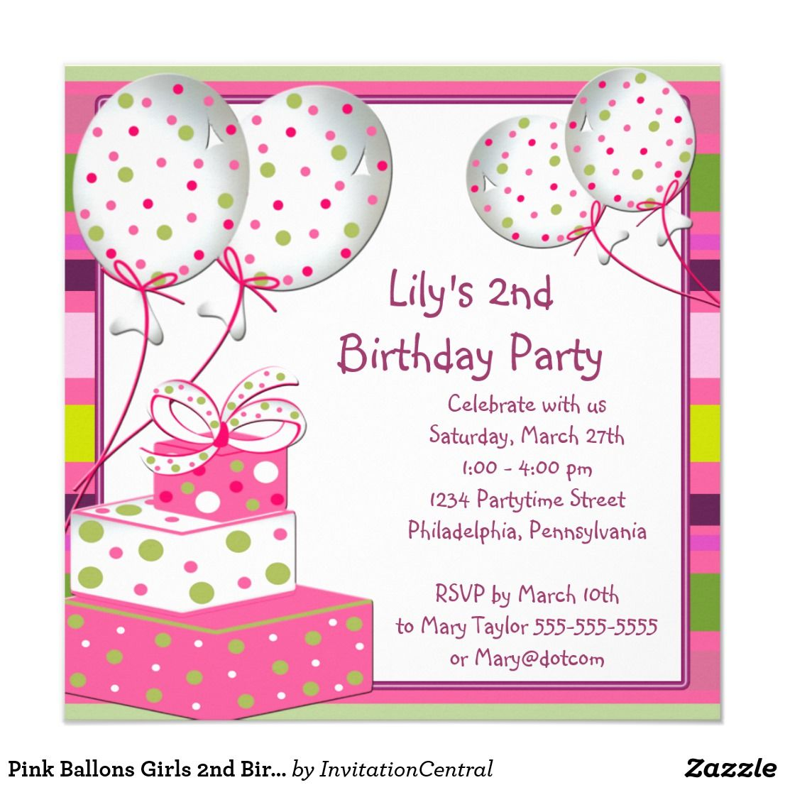 Pink Ballons Girls 2nd Birthday Party Card | Party invitations and ...