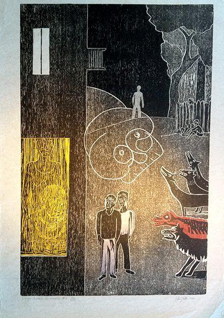 """Viaje hacia la noche"". Francisco Amighetti, Cromoxilografía, 77 x 51 cm,xxi/xxv, 1988."