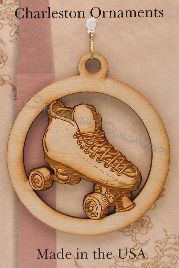 Custom Wooden Roller Skate Ornament,  FREE Engraving, Roller Skate ornament, Rollerskating Ornament, Roller Skate gift,