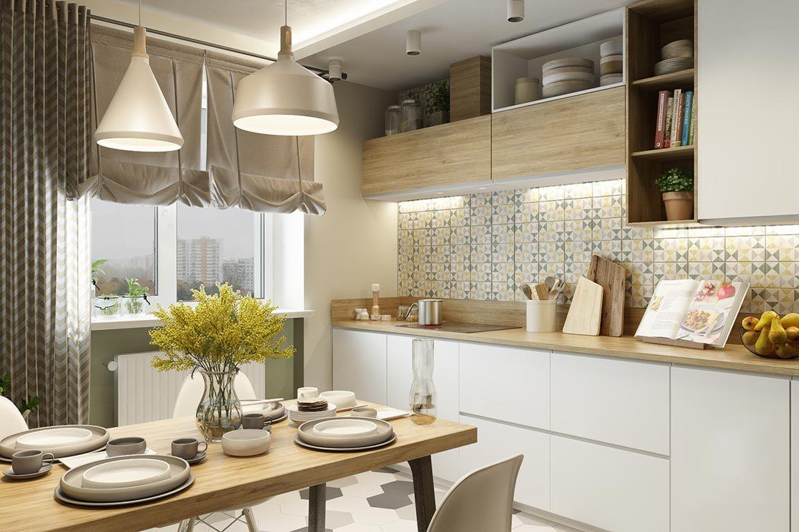 Modern konyha friss, természetes hangulattal berendezve ...