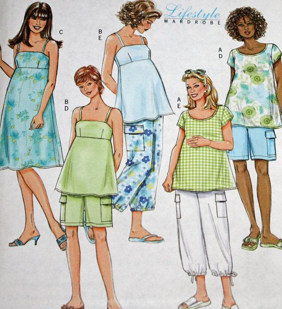 fbe0a5867b98a UNCUT, Butterick B4527, Misses', Maternity, Sewing Pattern, Maternity  Clothes, Top, Dress, Shorts or Pants, Misses' Size 8-10-12-14