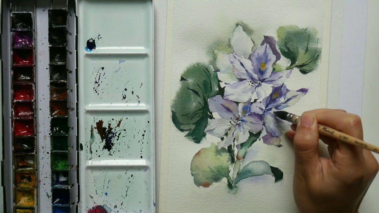 Comment Peindre La Jacinthe D Eau En Aquarelle Francais