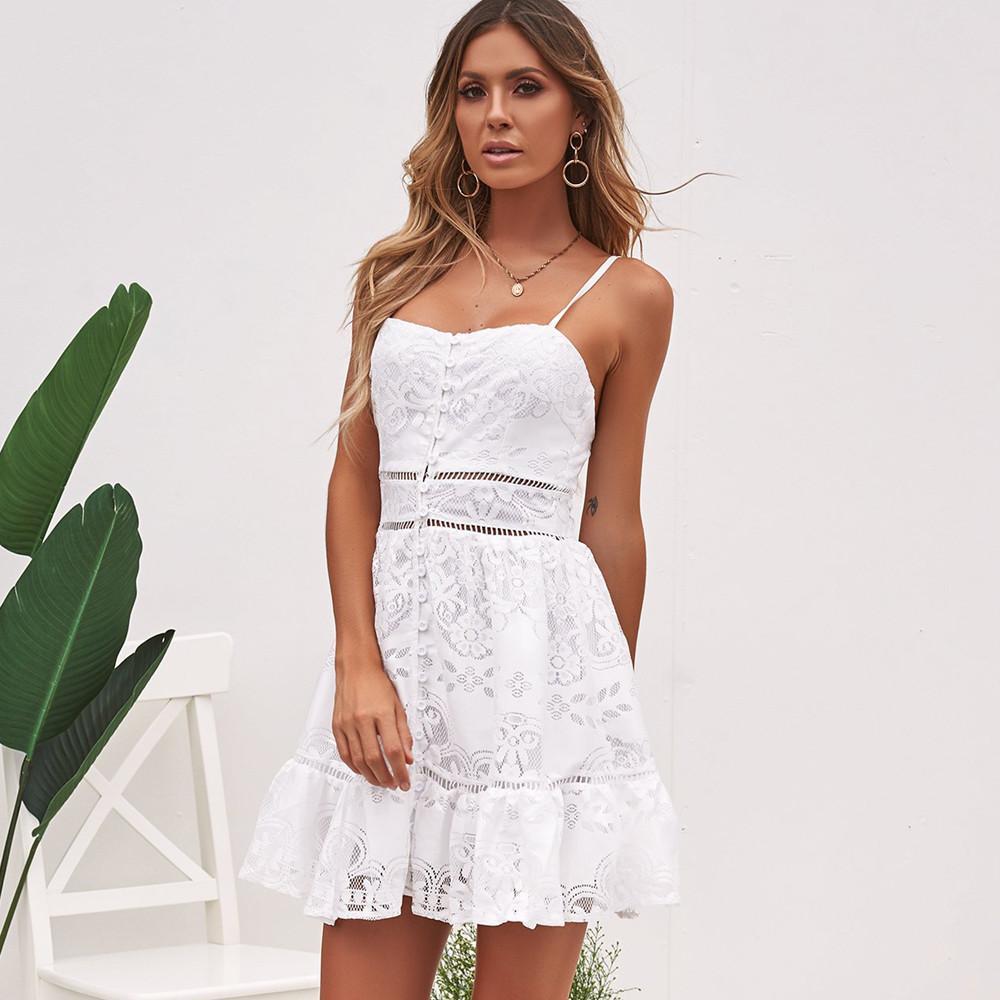 Women Dress Casual Fashion Retro Cute Lace Summer Ladies Dresses Ozzy Bella All Great Apparel Lace White Dress White Dress Summer Ladies Mini Dresses [ 1000 x 1000 Pixel ]