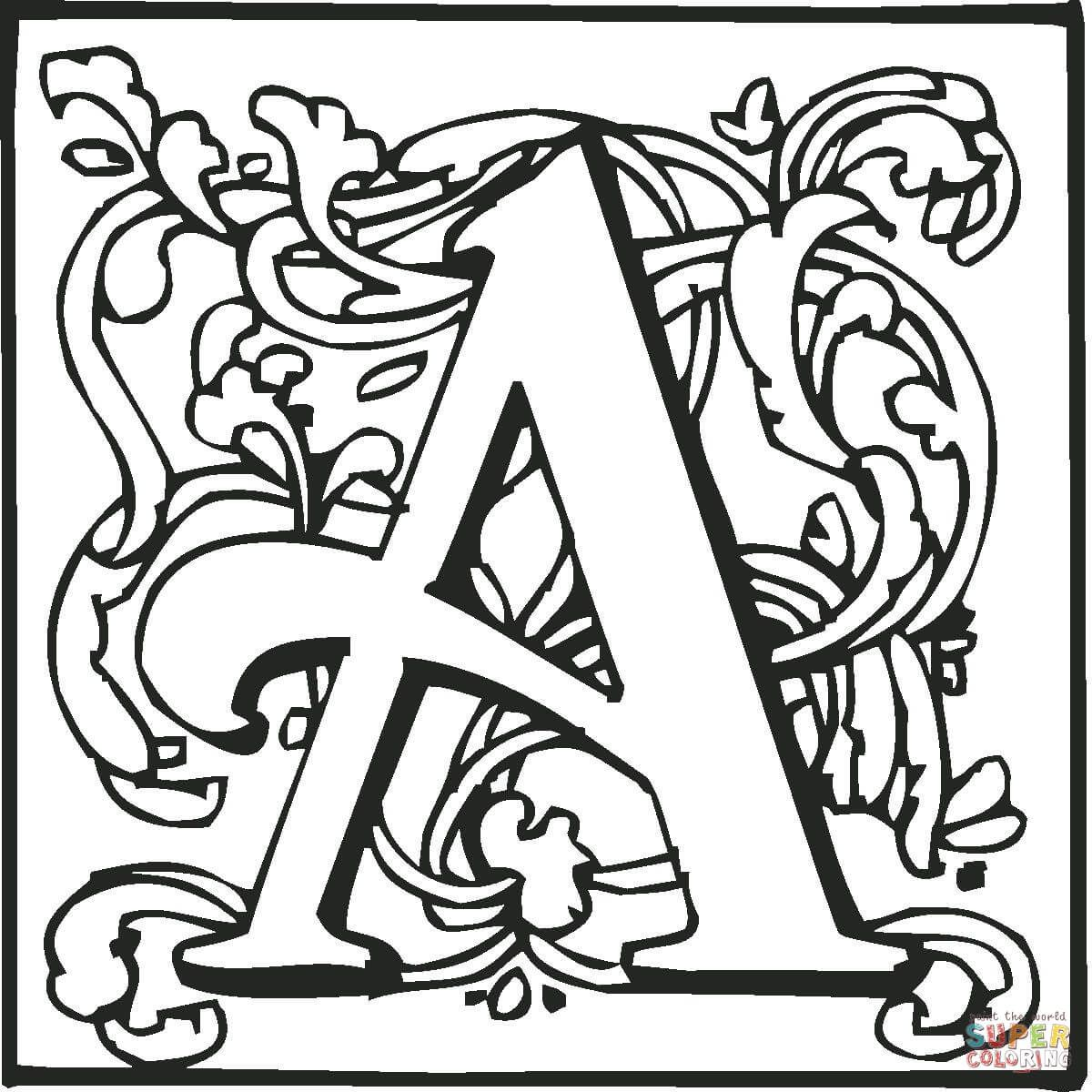 Letter A With Ornament Coloring Page From English Alphabet With Ornaments Categor Buchstaben Vorlagen Zum Ausdrucken Buchstabe A Schneemann Basteln Weihnachten