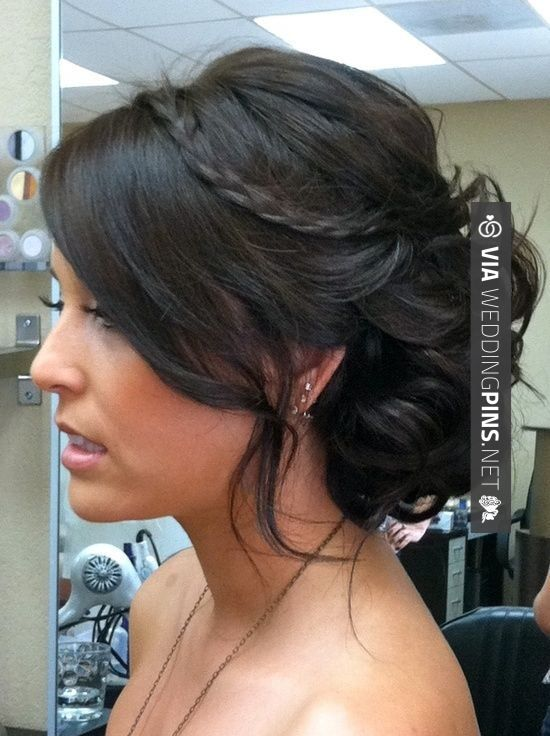 Love This Side Bun Wedding Hair Braid And A Messy Side Bun Hair Color And Makeover Inspiration Check Out Hair Styles Medium Hair Styles Hair Inspiration