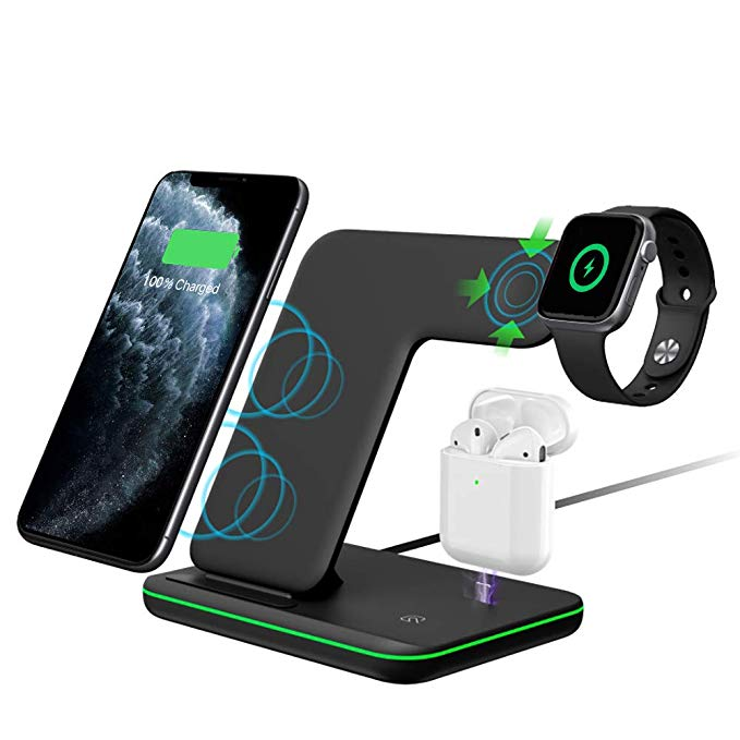 Amazon Com Intoval Wireless Charger 3 In 1 Wireless Charging Stand For Apple Watch Series 5 4 3 2 1 Wireless Charger Iphone Wireless Phone Charging Stations