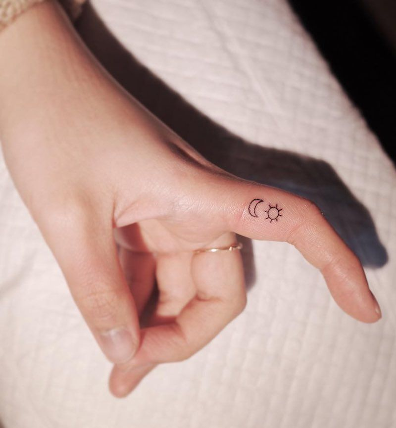 Photo of #Finger #Tattoos Finger Tattoos Sun and Moon Finger Tattoo by Witty Button