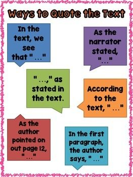 ways to quote the text anchor chart education quotes education