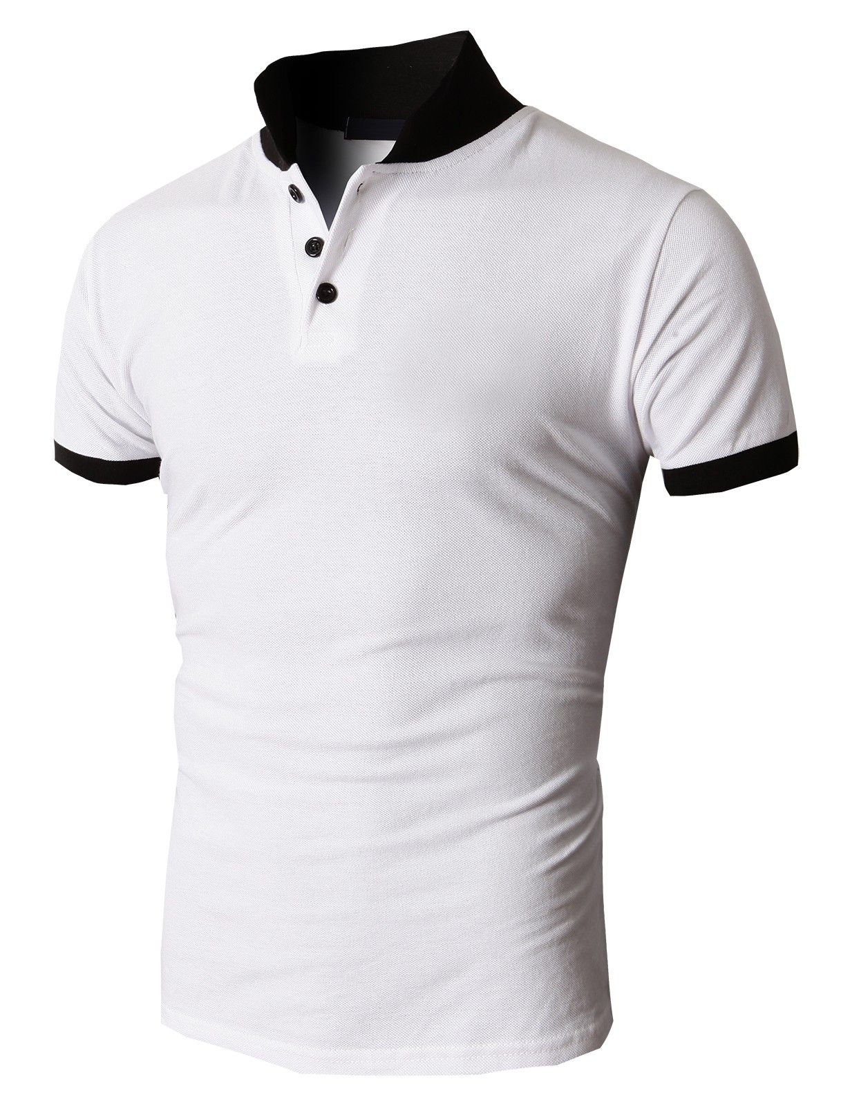 8ae5aef0d Doublju Men's Pique Polo-shirts Three Buttons Closer with Two Tone Collar  (KMTTS035) #doublju