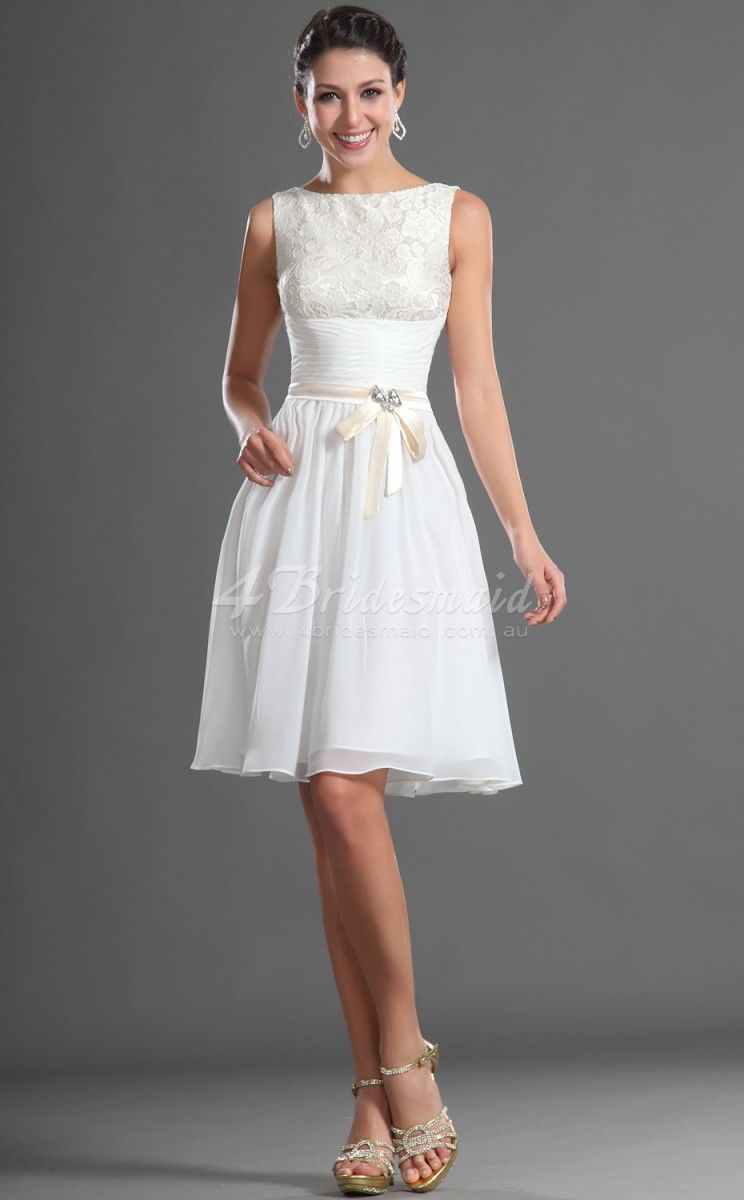 dae7332e0af A-line Jewel Neck Short Mini White Chiffon Bridesmaid Dresses(BD417 ...