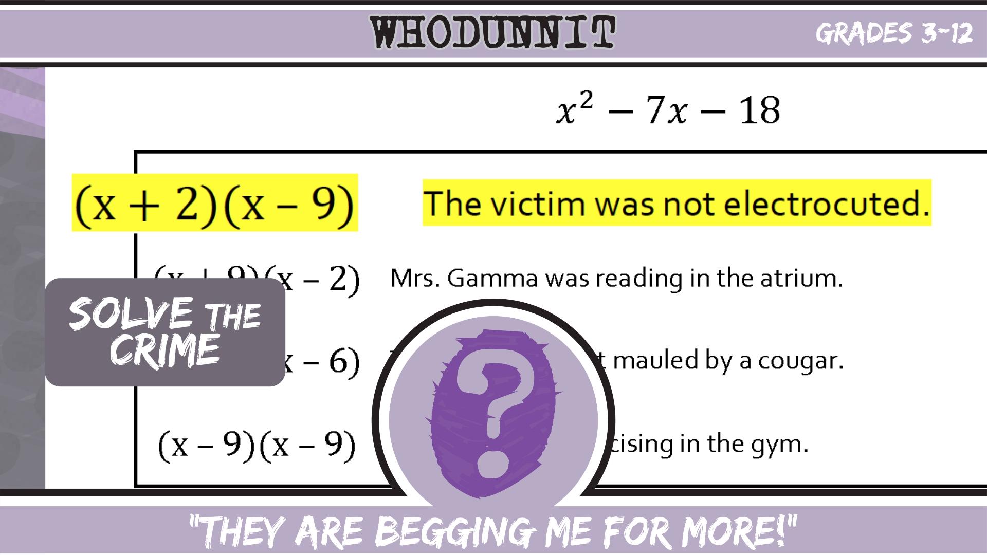 Whodunnit Math Video Creative Math Skills Practice Pre Algebra [ 1080 x 1920 Pixel ]