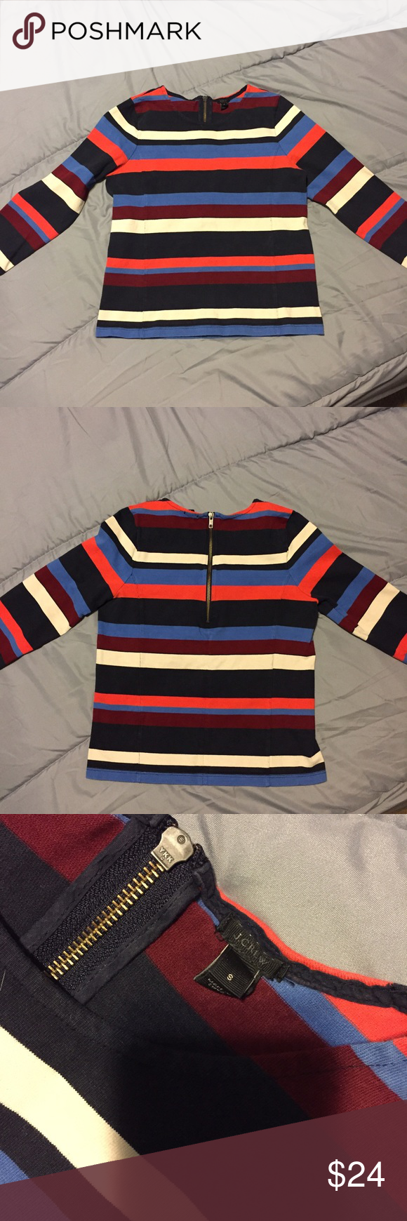 "Colorblock stripe top with Back zip. Women's 100% Cotton Long Sleeve Top. Back zipper. In excellent preloved condition.  Chest: 17"" Length: 20""  Sleeve: 20"" J. Crew Tops Blouses"