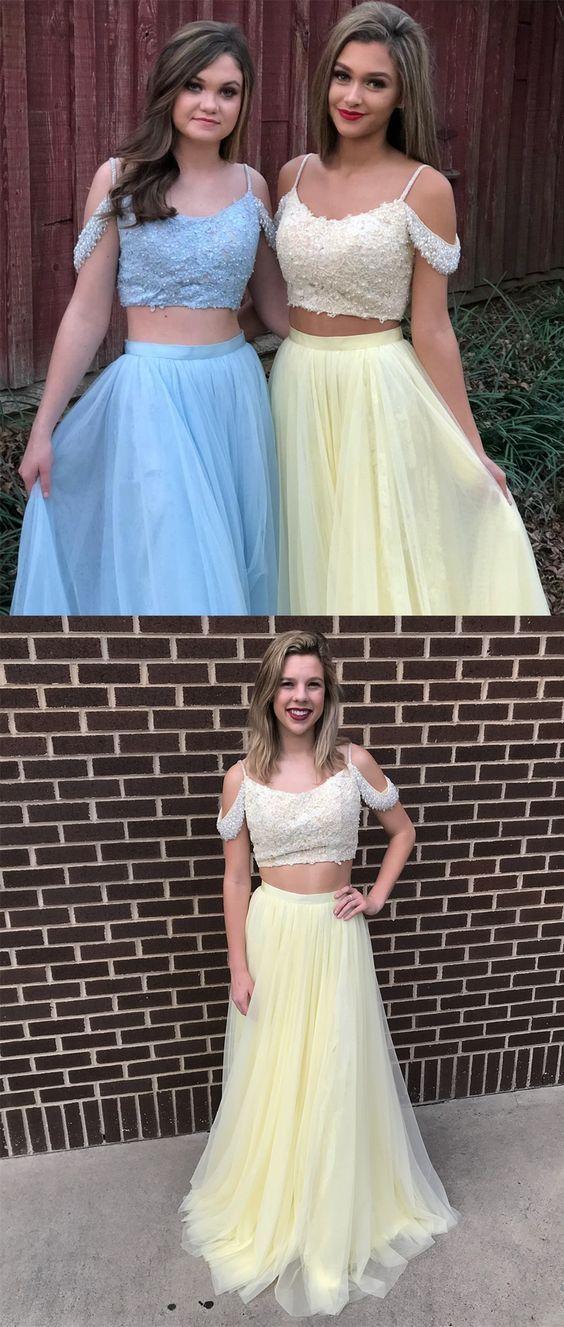 summer colder shoulder spaghetti straps tulle prom dresses long ...