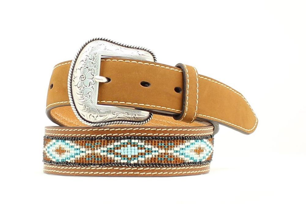 Nocona Mens Brown Ribbon Horse Lace