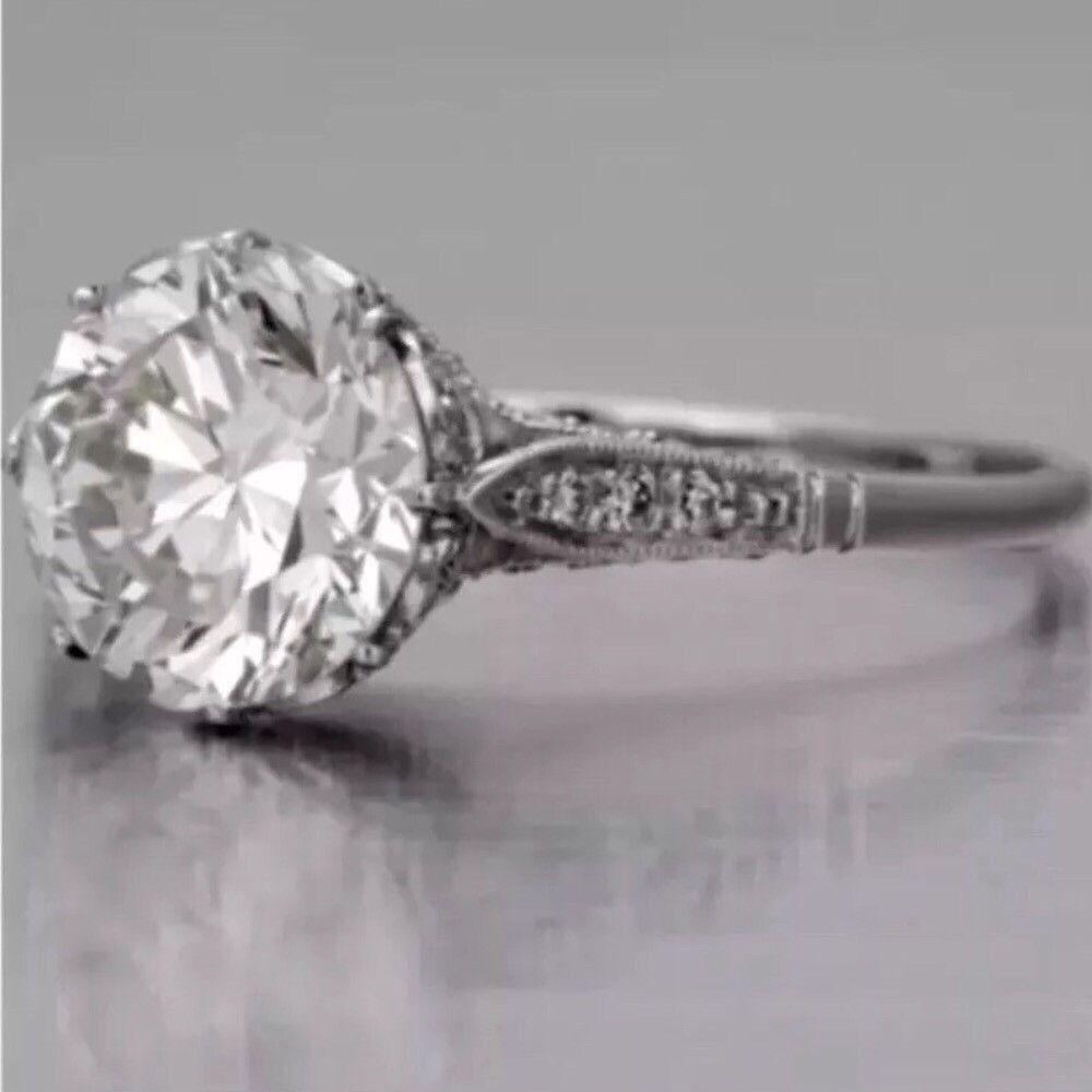 Edwardian Antique Style Platinum Diamond Engagement Ring 2 10 Ct In