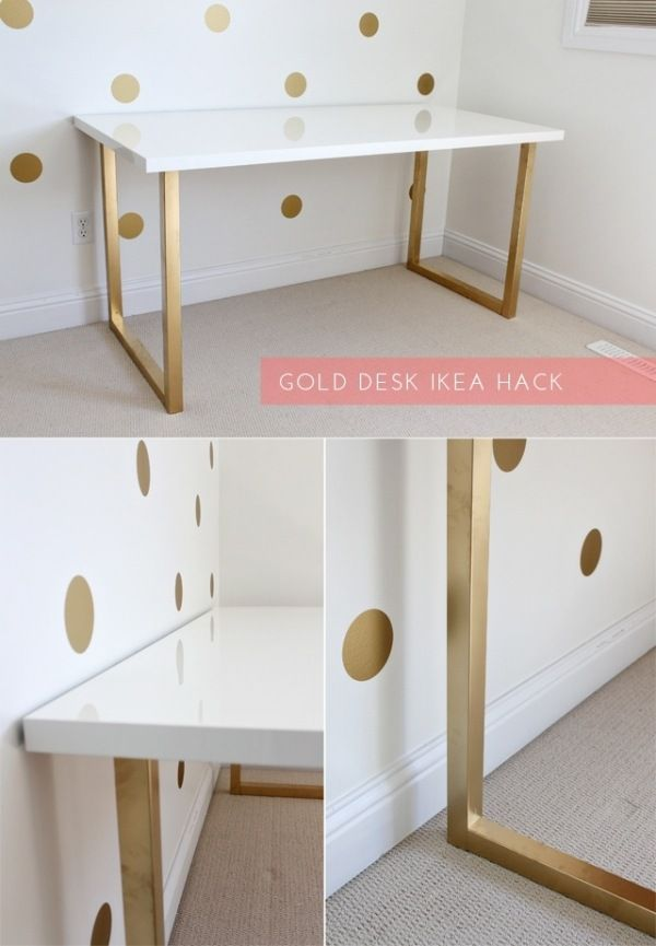 Ikea Schreibtisch Vika Moliden Beine Personalisieren Gold Streichen