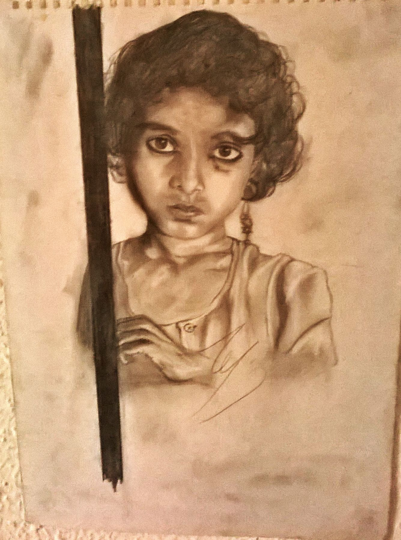 A sketch from a national geographic photograph of an indian girl from the slums of india