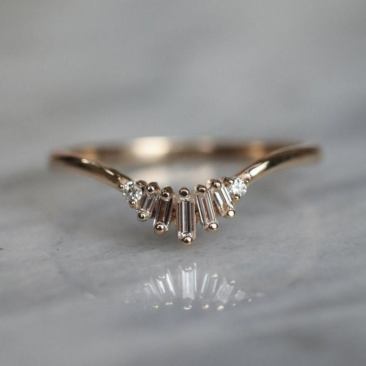 Photo of Wren, Diamond Baguette Ring in Yellow Gold