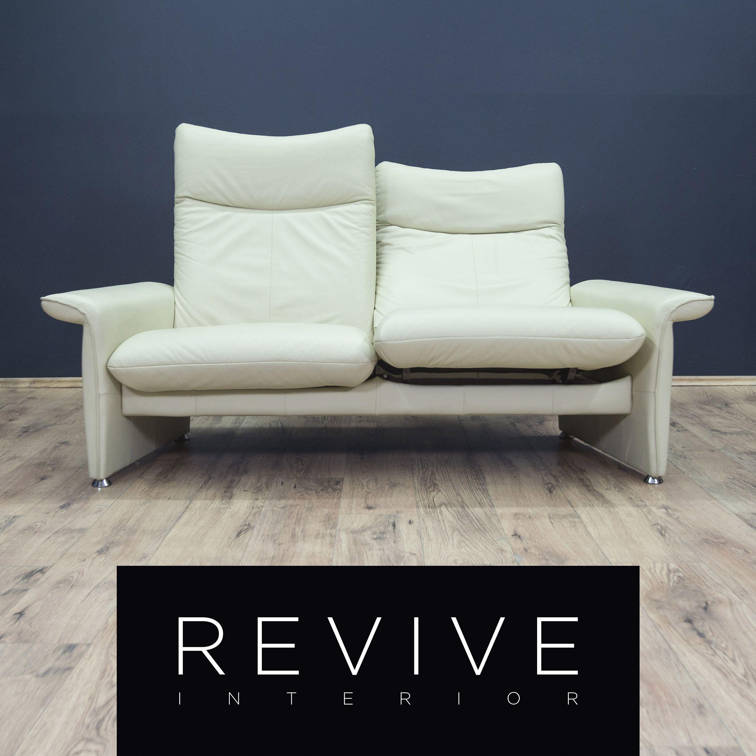 Laauser Designer Leder Sofa Creme Weiss Zweisitzer Funktion Couch