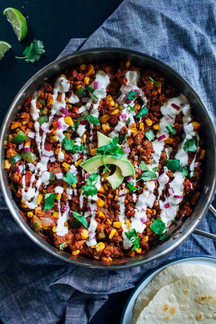 One Pot Lentil Taco Skillet
