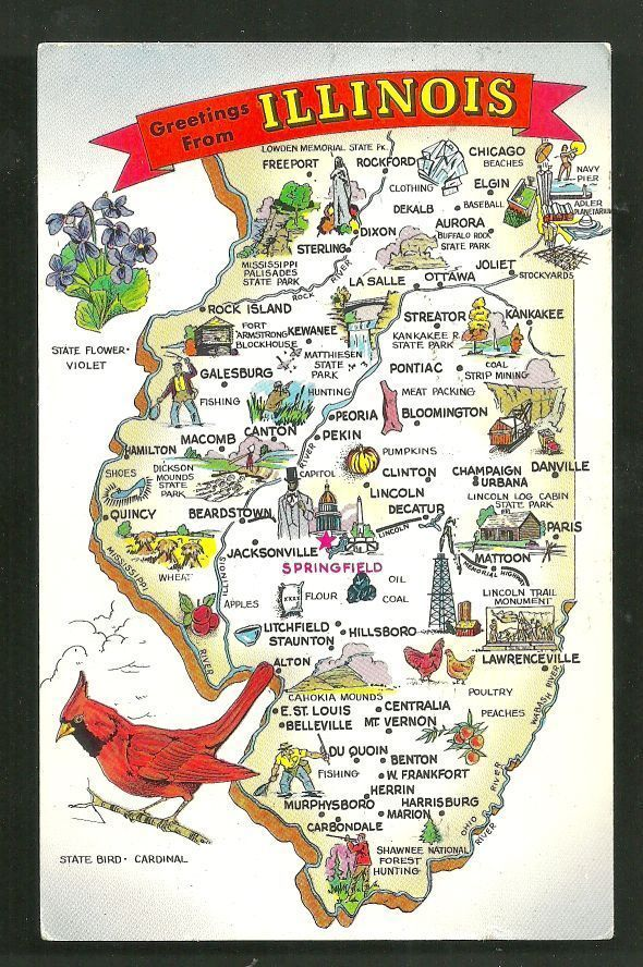 Details about Map postcard Illinois Land of Lincoln USA 1972 in 2019 ...
