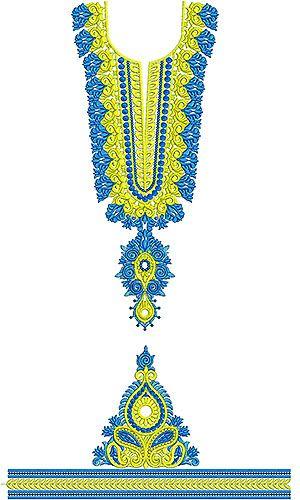 2 Color Designer Dress Embroidery Design