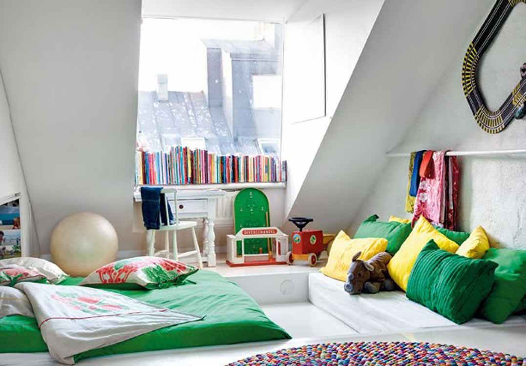 Marvelous Teenage Room Renovation Using Simple Interior Concept: Nice Green Bedroom  Interiors Decor Mixed With White