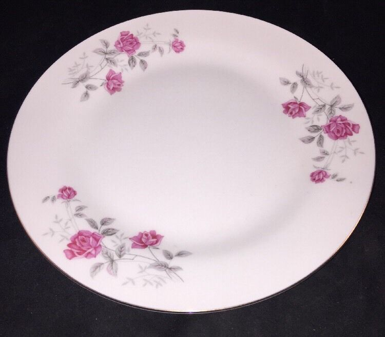 Fine China Made In China Dinnerware Moss Rose Design Salad Plate 8  Gold Trim 8 & Fine China Made In China Dinnerware Moss Rose Design Salad Plate 8 ...