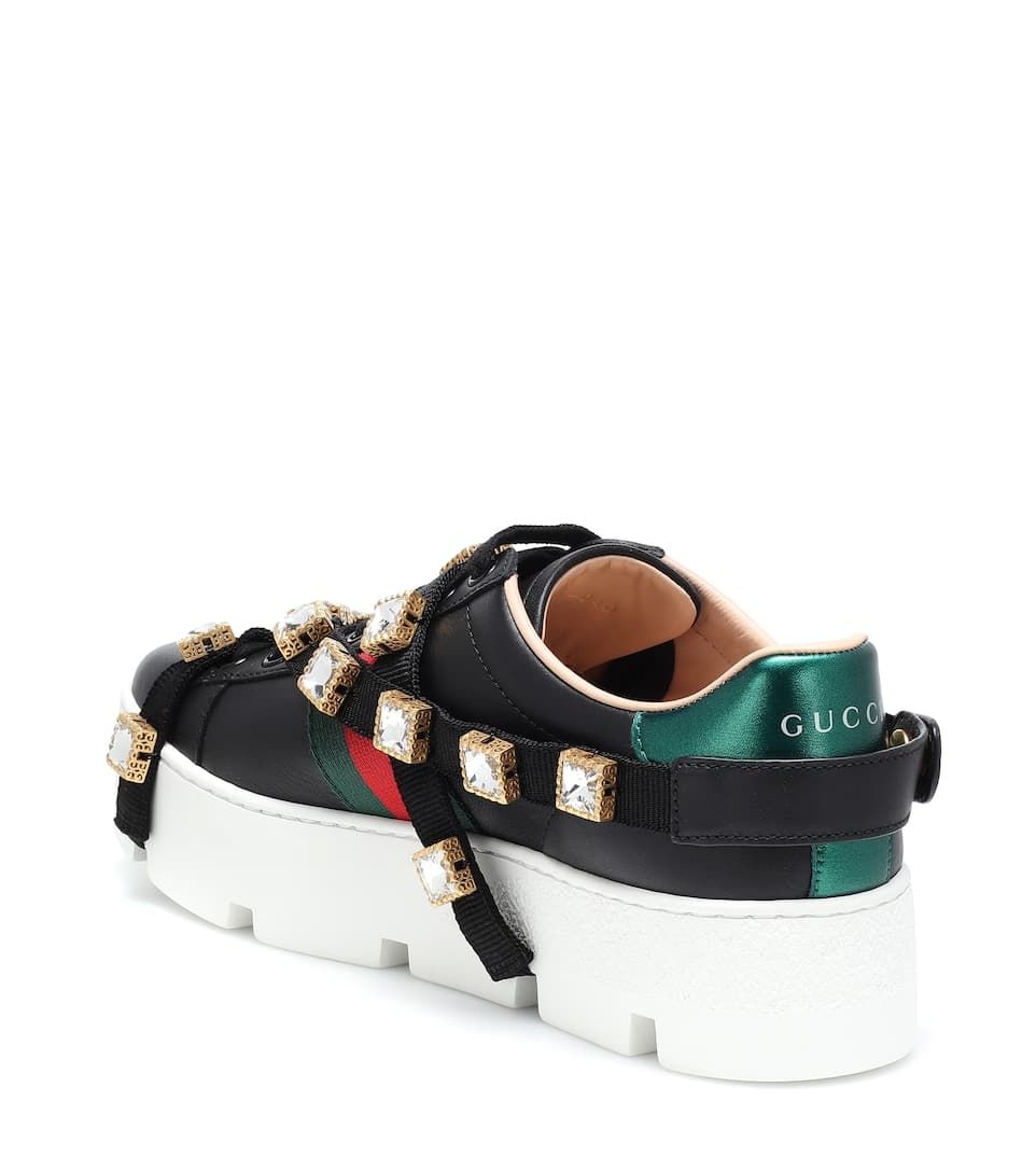cbe9168e012 Ace embellished platform sneakers Gucci rubber sole black leather crystal  embellishments embroidered bee metallic  Gucci