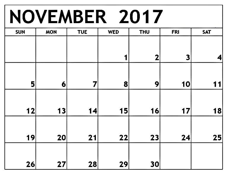 November 2017 Calendar Printable Free http\/\/mobispirit\/2017 - printable monthly calendars