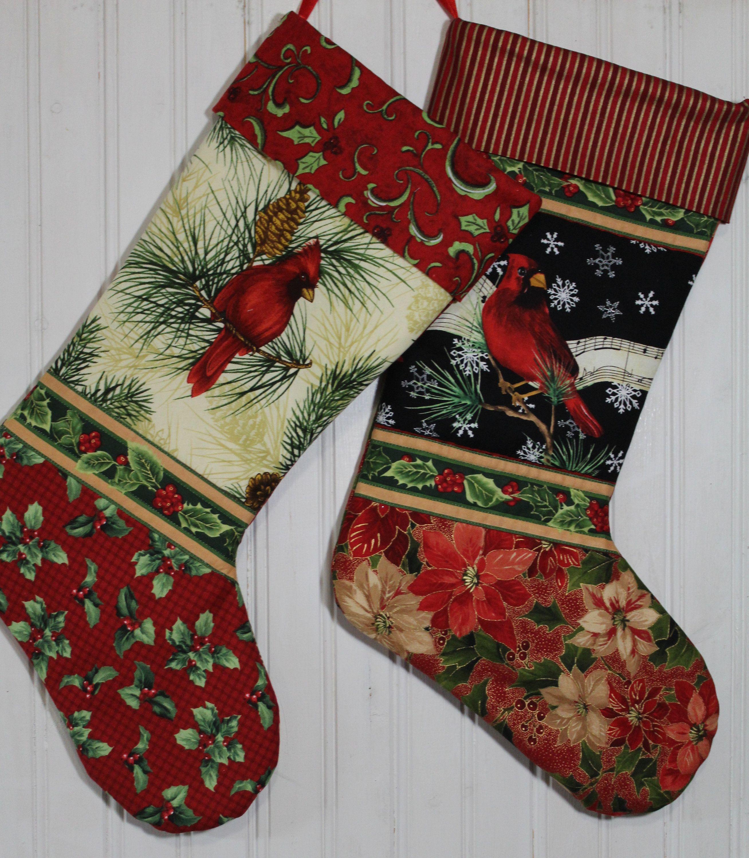 Cardinal Christmas Stockings - Quilted Christmas Stocking - Gift ...